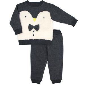 Grey & White Penguin Crewneck Sweatshirt & joggers